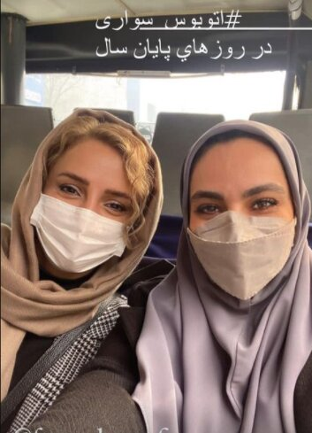 اتوبوس سواری شبنم قلی خانی /عکس