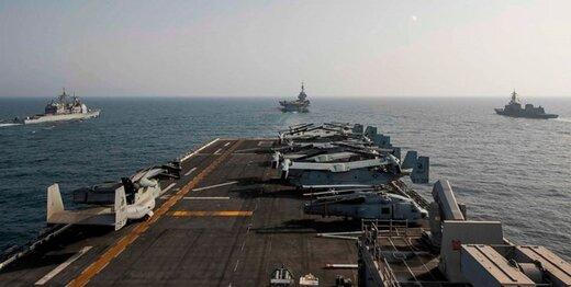 رزمایش دریایی آمریکا با فرانسه، بلژیک و ژاپن در دریای مکران و خلیج عمان
