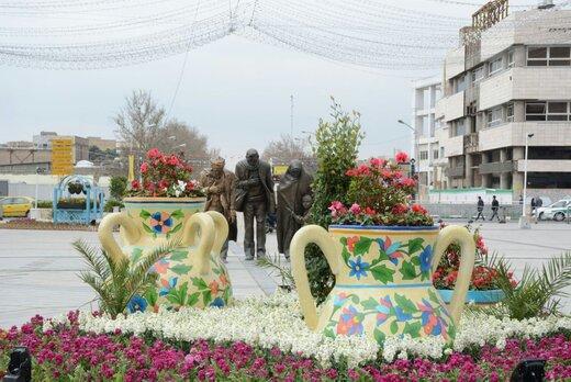 آذین بندی شهر و زیباسازی منظر شهری با جلوه نمایی المانهای گل بهار مشهد در استقبال از بهار