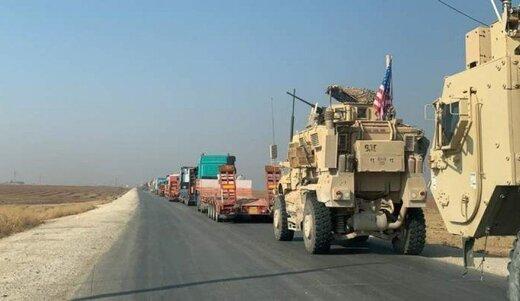 انتقال یک کاروان طویل نظامی آمریکا از عراق به سوریه