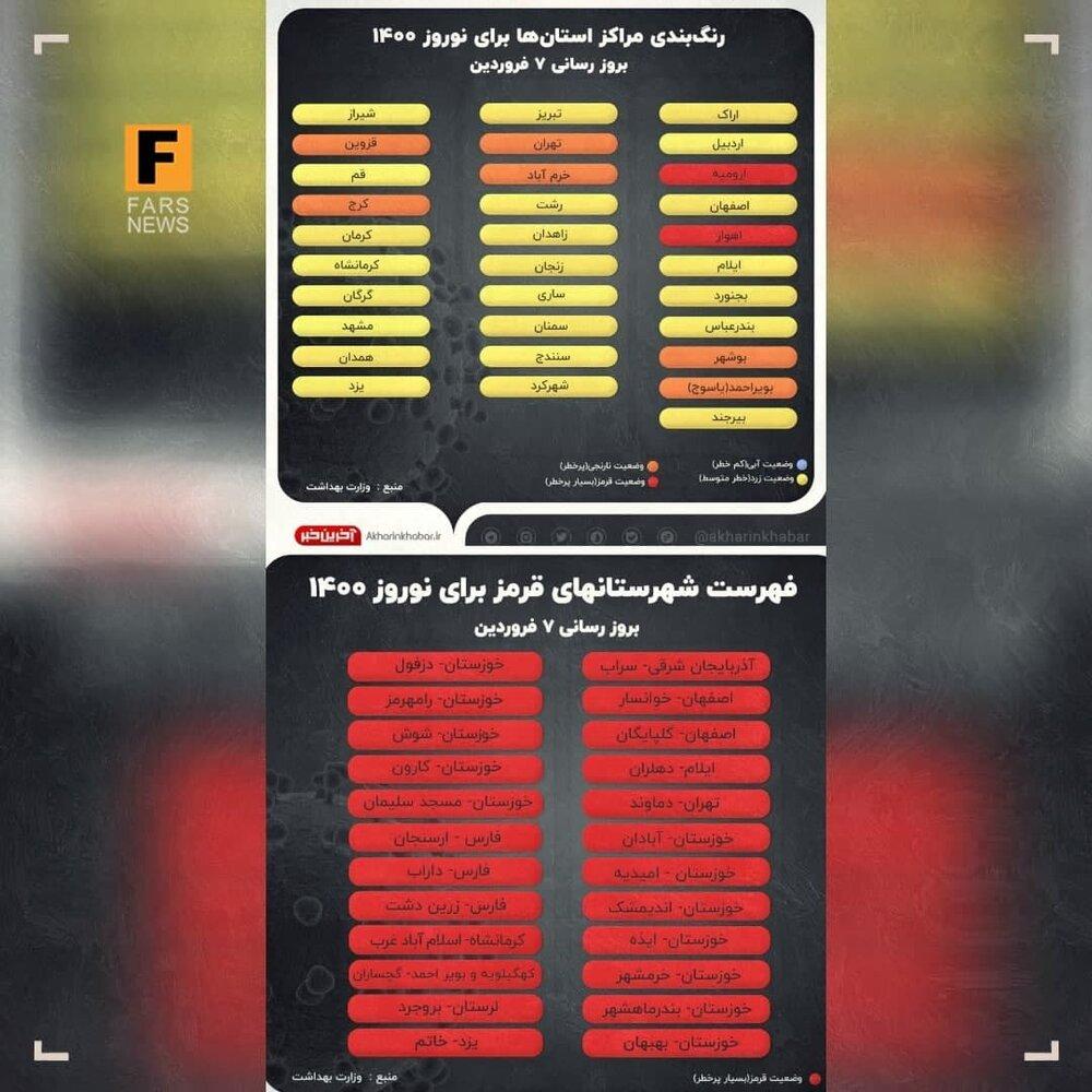 تهران و کرج نارنجی شدند/ فهرست همه شهرهای قرمز و نارنجی