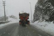 ببینید | بارش برف در محور فیروزکوه