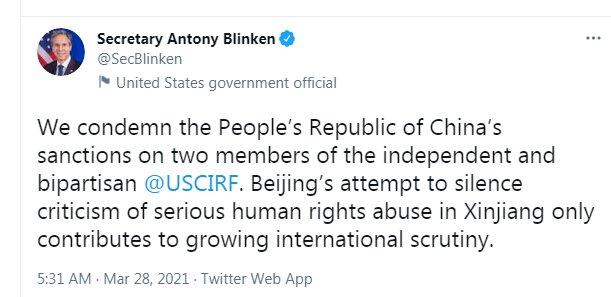 واکنش بلینکن به تحریمهای چین علیه آمریکا