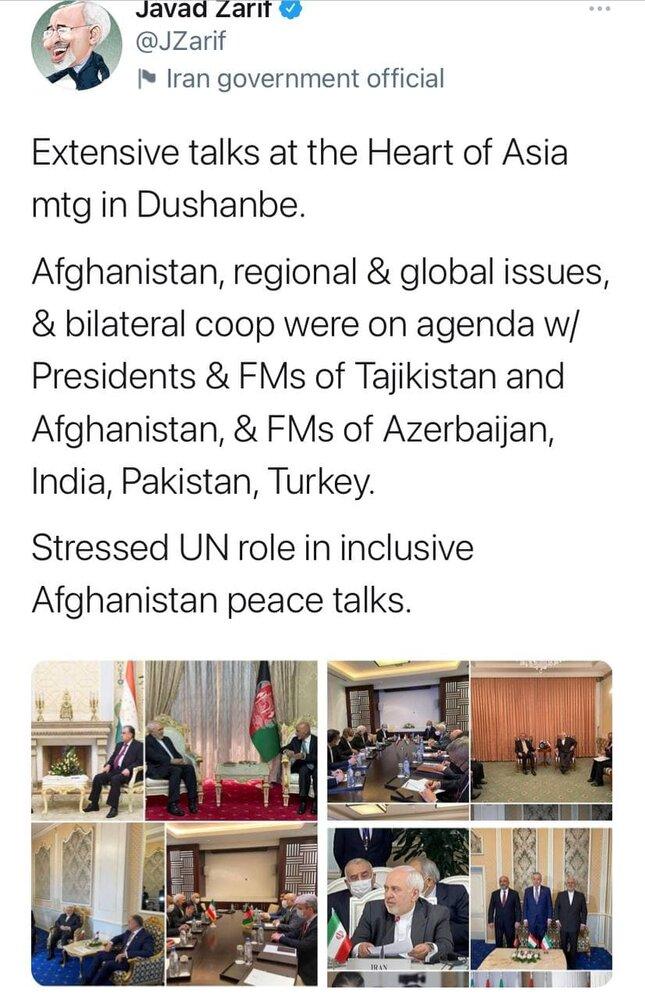گزارش توییتری ظریف از نتایج سفر به تاجیکستان