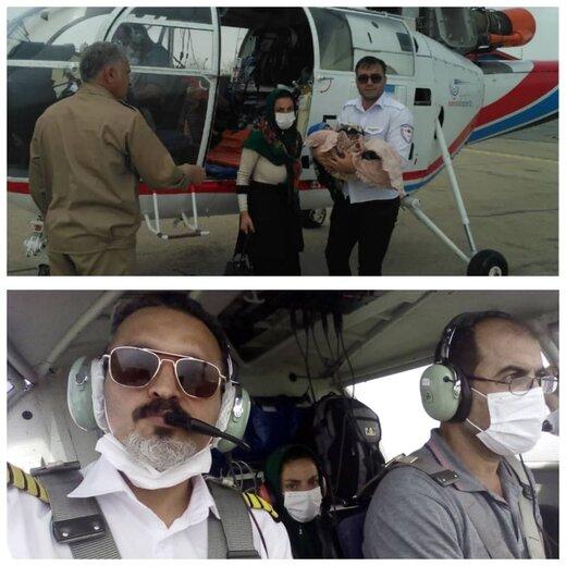 نجات نوزاد ۶ماهه اهل روستای دره توت توسط اورژانس هوایی چهارمحال وبختیاری