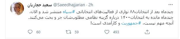 کنایه صریح سعید حجاریان به جدال بر سر کاندیداهای نظامی انتخابات 1400