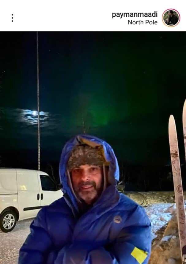 پیمان معادی در سرمای منفی ۲۸ درجه قطب شمال/ عکس