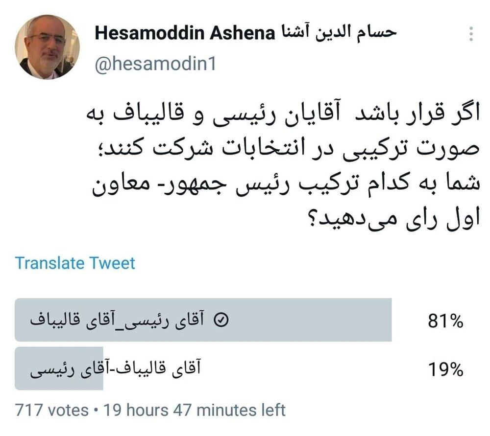 نظرخواهی توئیتری حسام الدین آشنا درباره قالیباف و رئیسی