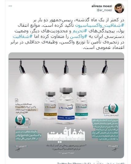 تاکید روحانی بر شفافیت در تامین و توزیع واکسن کرونا از زبان علیرضا معزی