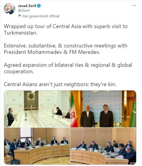 گزارش توئیتری ظریف از پایان سفر به آسیای مرکزی