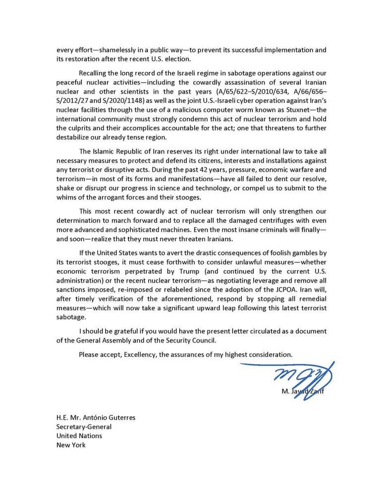 نامه ظریف به گوترش درباره حمله تروریستی رژیم صهیونیستی علیه نطنز