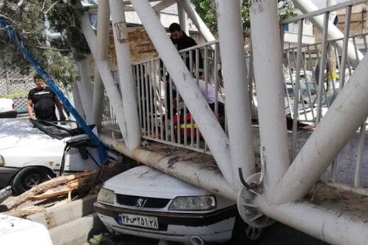 ببینید | سقوط پل هوایی در جاده ساوه ورودی سبزدشت