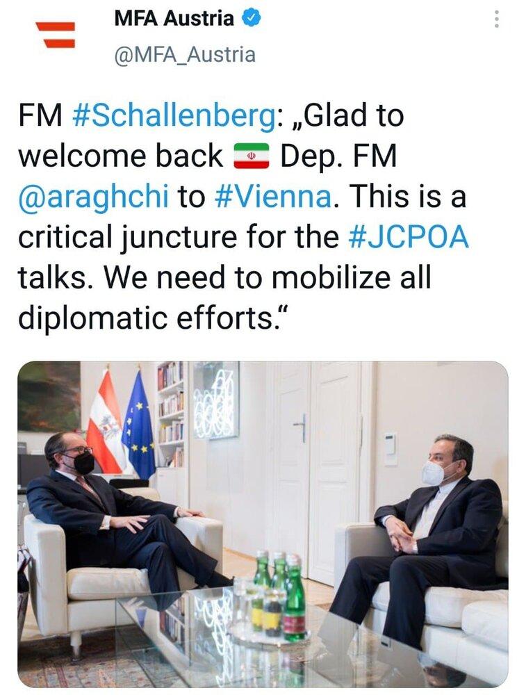 توئیت وزارت خارجه اتریش پس از دیدار عراقچی و شالنبرگ