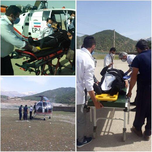 امداد رسانی اورژانس هوایی چهارمحال و بختیاری  برای نجات جان خانم ۵۵ ساله
