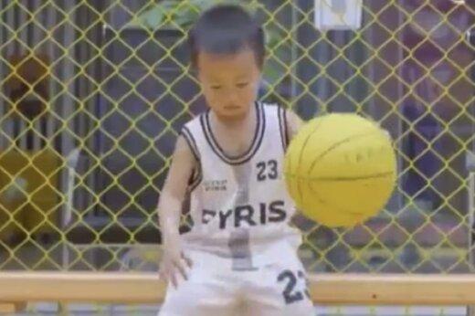 ببینید | وقتی تمام توپهای بسکتبالیست 3 ساله چینی گل میشود