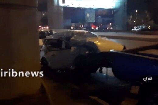 ببینید | تصادف مرگبار پژو ۲۰۶ در تهران/ موتور خودرو به بیرون پرتاپ شد!