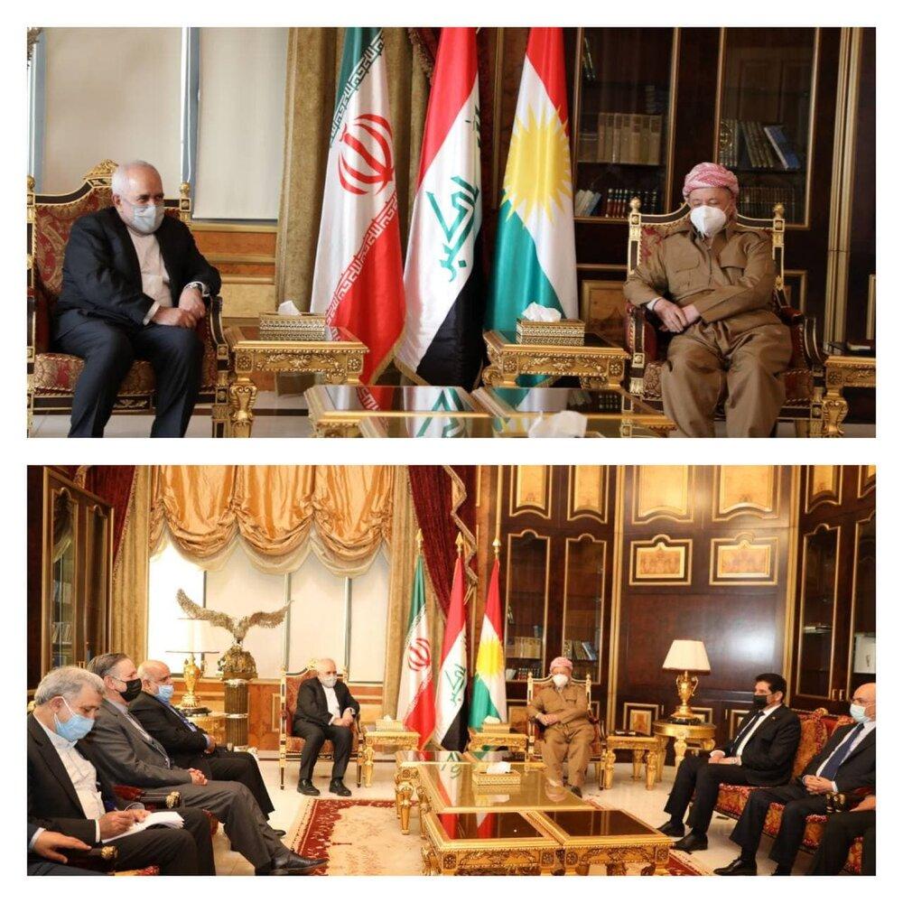 مسعود بارزانی در دیدار ظریف: اجازه نمیدهیم کردستان محلی برای تهدید ایران باشد/عکس