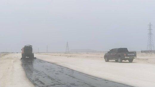 عملیات اجرایی آسفالت قطعه ۳ بزرگراه خلیج فارس قشم کلید خورد