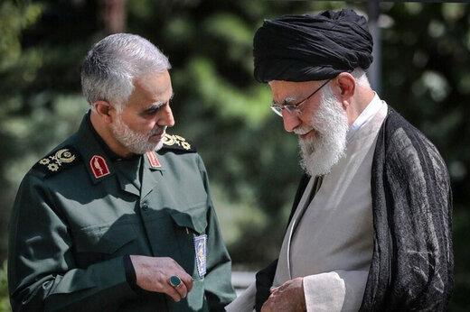 ببینید | پاسخ قاطع شهید سلیمانی به تهدید دشمن از زبان رهبر انقلاب