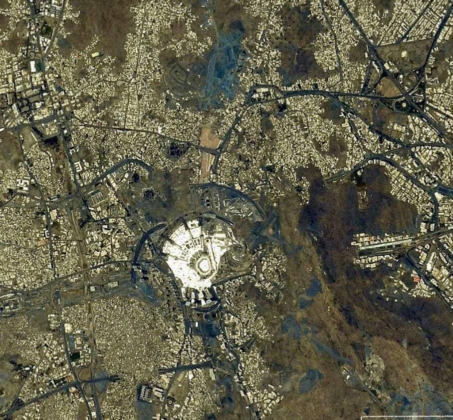 عکس | تصویر فضانورد ژاپنی از مکه مکرمه و مسجدالحرام