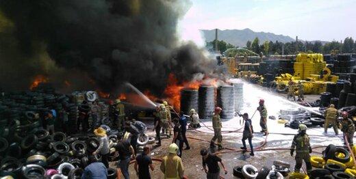 آتشسوزی بزرگ در جنوب تهران؛ انبار ۵۰هزار متری سوخت