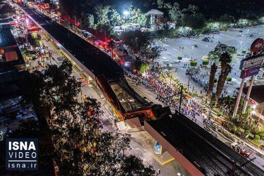 ببینید | لحظه هولناک فرو ریختن پل روگذر مترو در مکزیک