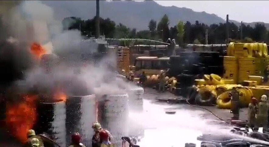 آتش سوزی انبار لاستیک مشیریه و زلزله تهران