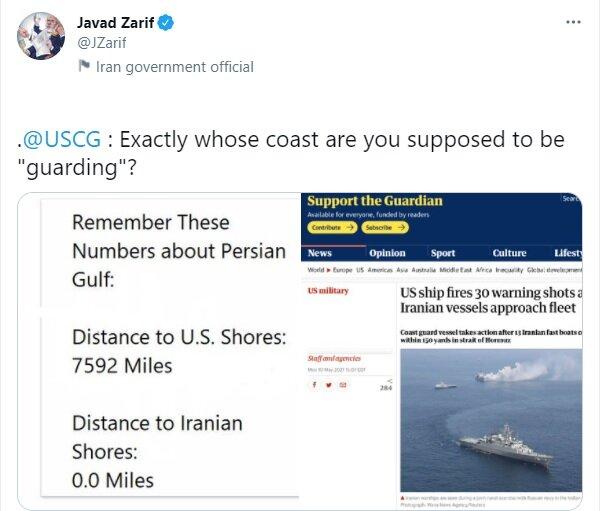 توئیت طعنهآمیز ظریف به آمریکا: شما باید دقیقا در حال حفاظت از ساحل چه کسی باشید؟