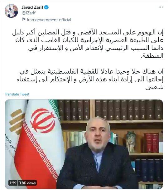 ظریف: تنها راه حل فلسطین همهپرسی است