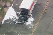 ببینید | لحظات دلهرهآور تعقیب و گریز پلیس و کامیوندزد در اتوبان کالیفرنیا