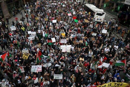 ببینید | تظاهرات بزرگ حمایت از فلسطین در آمریکا