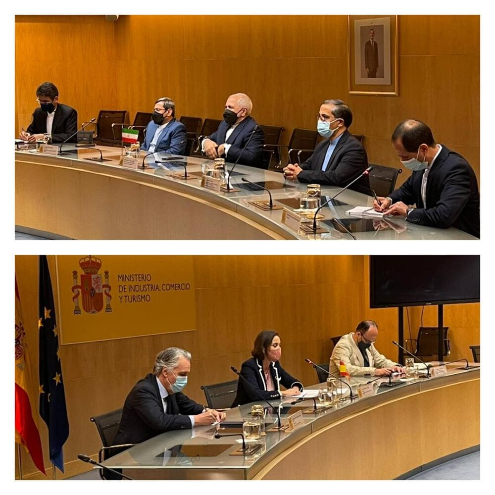 ظریف با وزیر صنعت اسپانیا دیدار کرد/عکس
