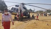 تلاش امدادگران هلال احمر کهگیلویه وبویراحمدو پایان عملیات اطفاء حریق در کوه های لار