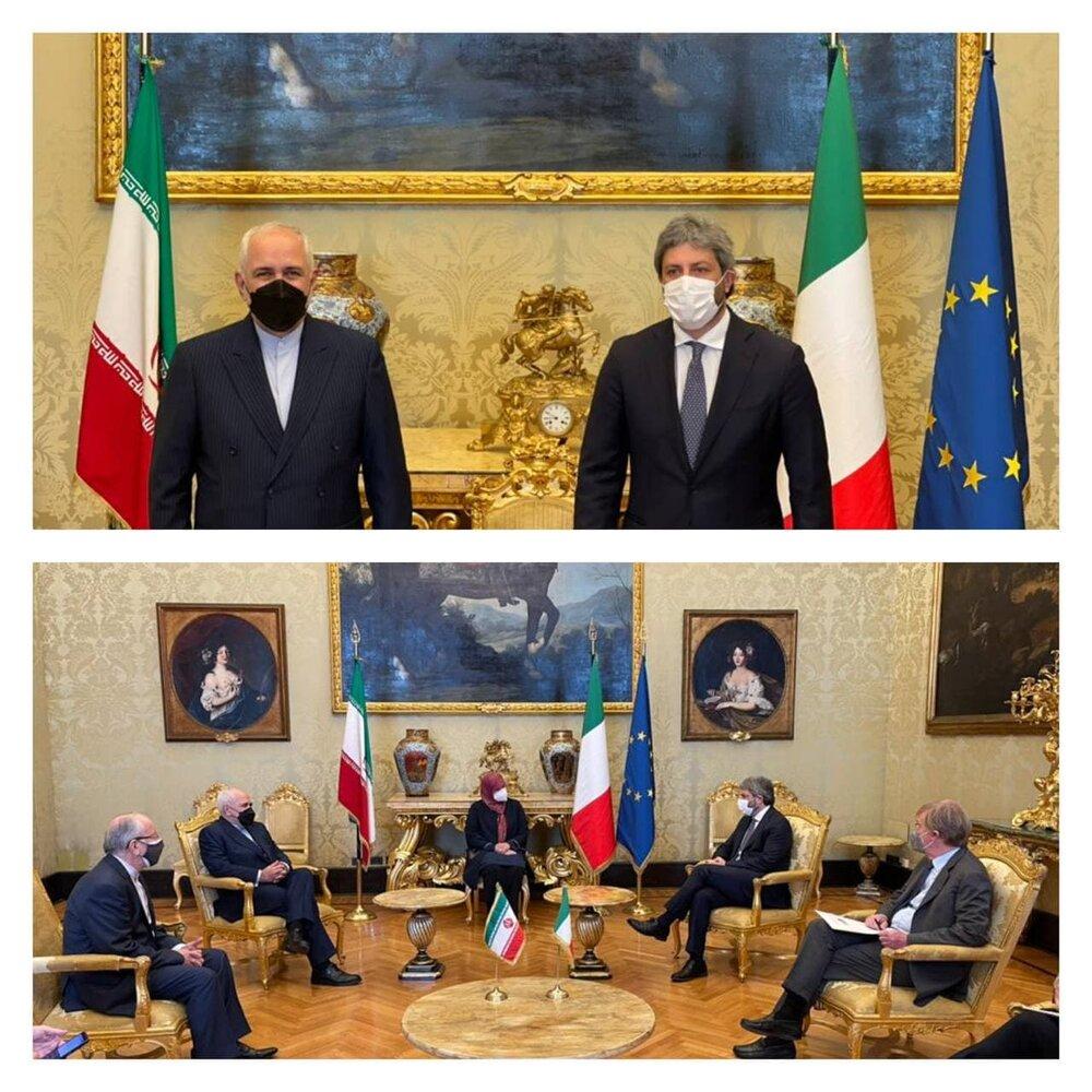 دیدار ظریف با رئیس مجلس نمایندگان ایتالیا/عکس