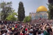 ببینید | رقص و آواز فلسطینیان در مسجد الاقصی