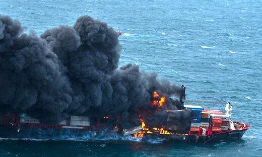 ببینید | انفجار مواد شیمیایی در کشتی سنگاپوری X-Press Pearl