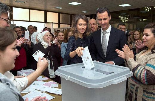 رای دادن بشار اسد و همسرش اسما در انتخابات ریاست جمهوری سوریه