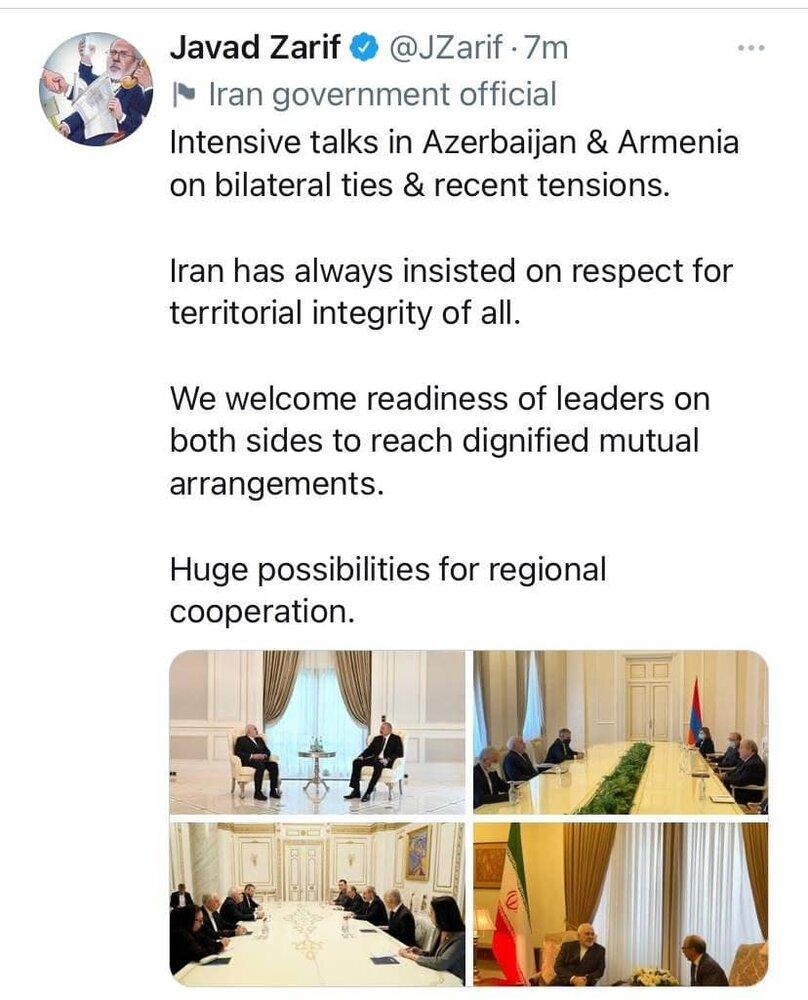 گزارش ظریف از سفرش به جمهوری آذربایجان و ارمنستان