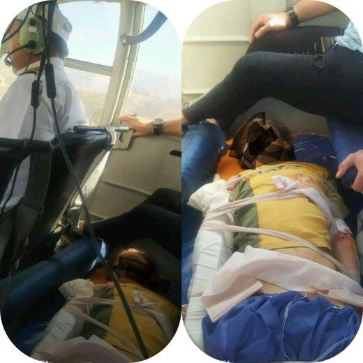 قطع دست پسر بچه ۸ ساله / انتقال مصدوم با اورژانس هوایی