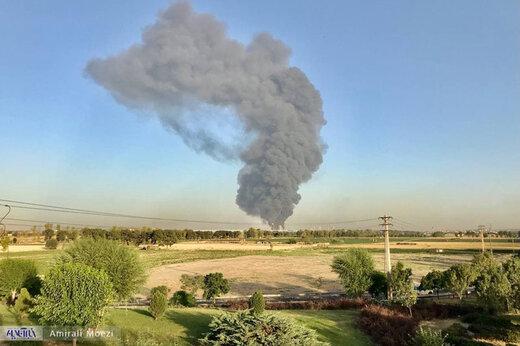 آتشسوزی گسترده در باقرشهر تهران