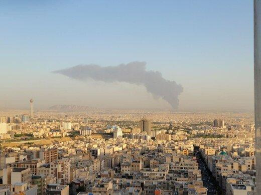 ببینید | شعلههای آتش در آتش سوزی پالایشگاه تهران