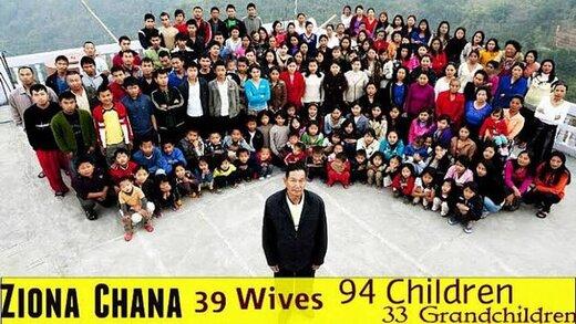 """پدرِ """"بزرگترین خانواده جهان"""" با ۳۸ زن و ۱۲۵ فرزند و نوه درگذشت"""