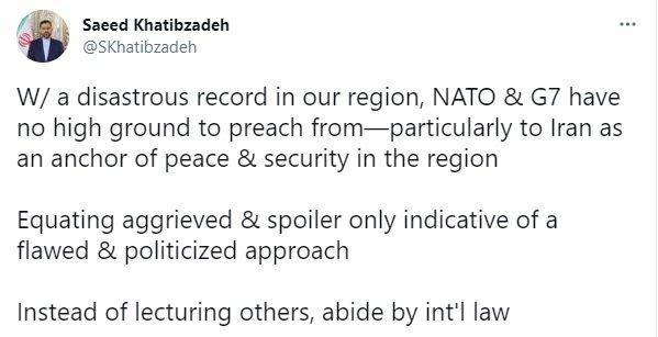 خطیبزاده: به جای خطابه خواندن به قوانین بینالمللی پایبند باشید