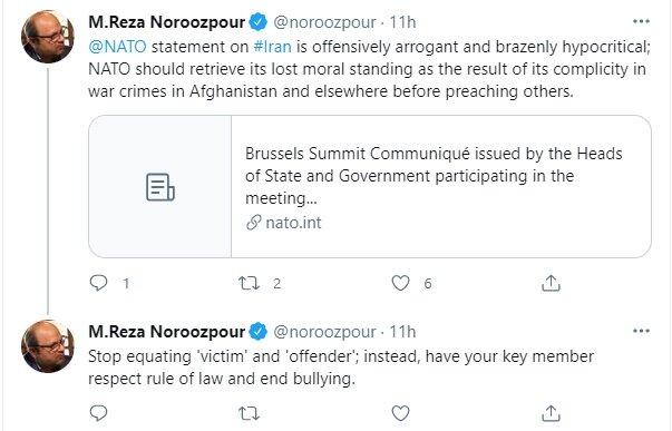 نوروزپور: بیانیه ناتو در مورد ایران توهینآمیز و گستاخانه است