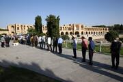ببینید | حضور پر شور و شبانه مردم در پل خواجوی اصفهان