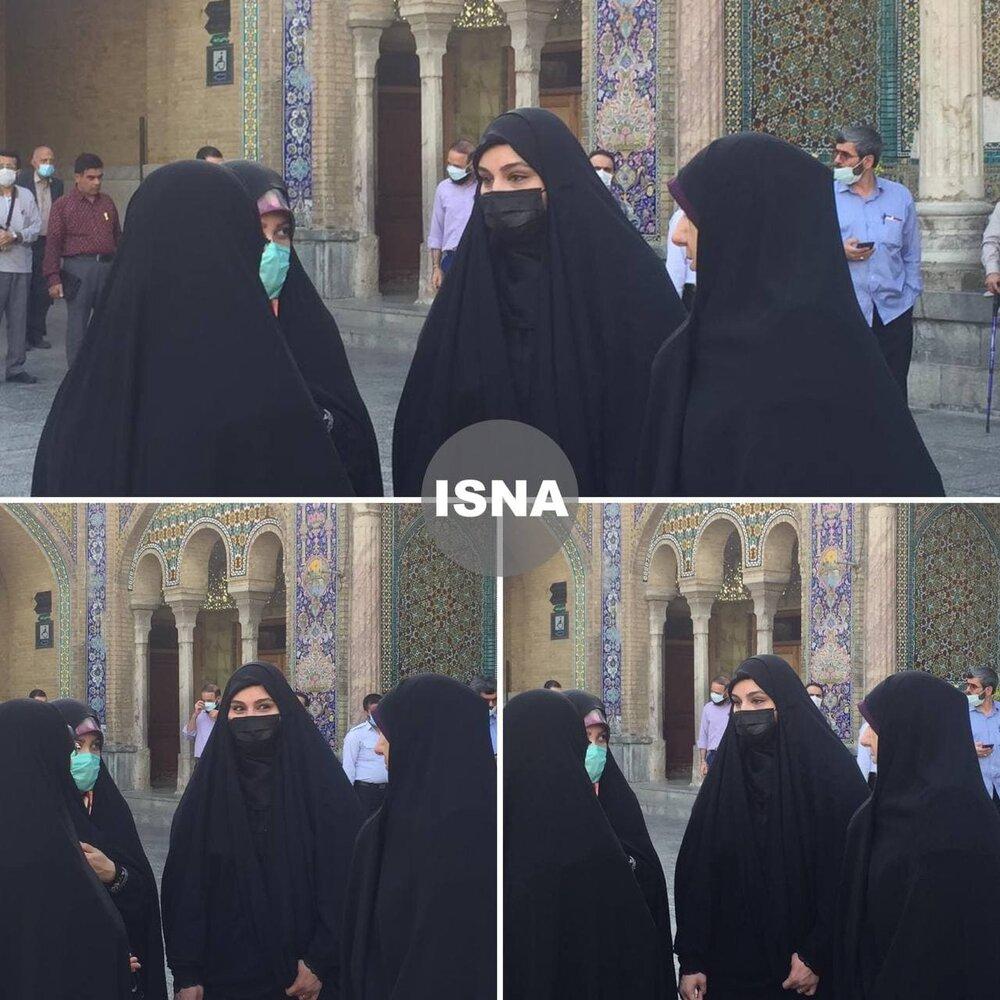 دختر سردار سلیمانی برای رأی دادن به حرم حضرت عبدالعظیم حسنی رفت+عکس