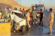 تصادف شدید خاور با دو پراید در بزرگراه آزادگان و نشت شدید گازوییل