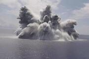 ببینید | لحظه انفجار مهیب در مجاورت ناو هواپیمابر آمریکای
