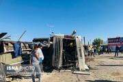 تصاویر | حادثه تصادف مرگبار اتوبوس و تریلی در یزد