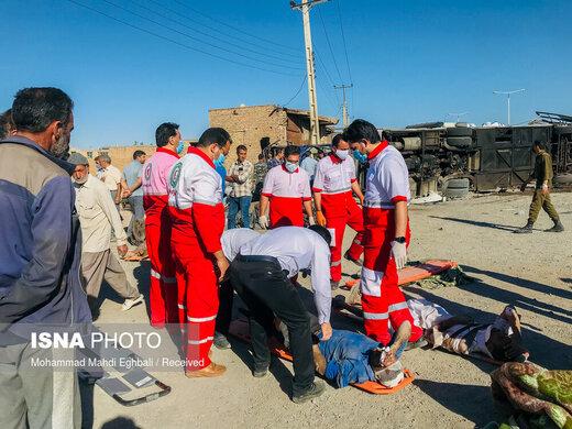 حادثه تصادف اتوبوس و تریلی در یزد